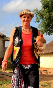 Karen Parkin With Chicken In Zululand