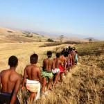 Zulu Women Lead Towards The Ceremony At A Traditional Zulu Wedding