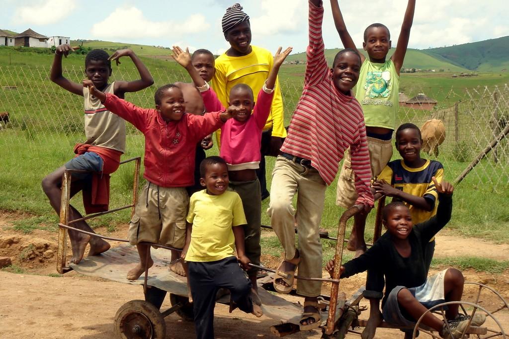 Zulu Children Playing On Their Car - Eshowe